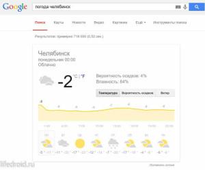 Узнать погоду в Гугл