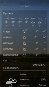 Прогноз погоды на Андроид