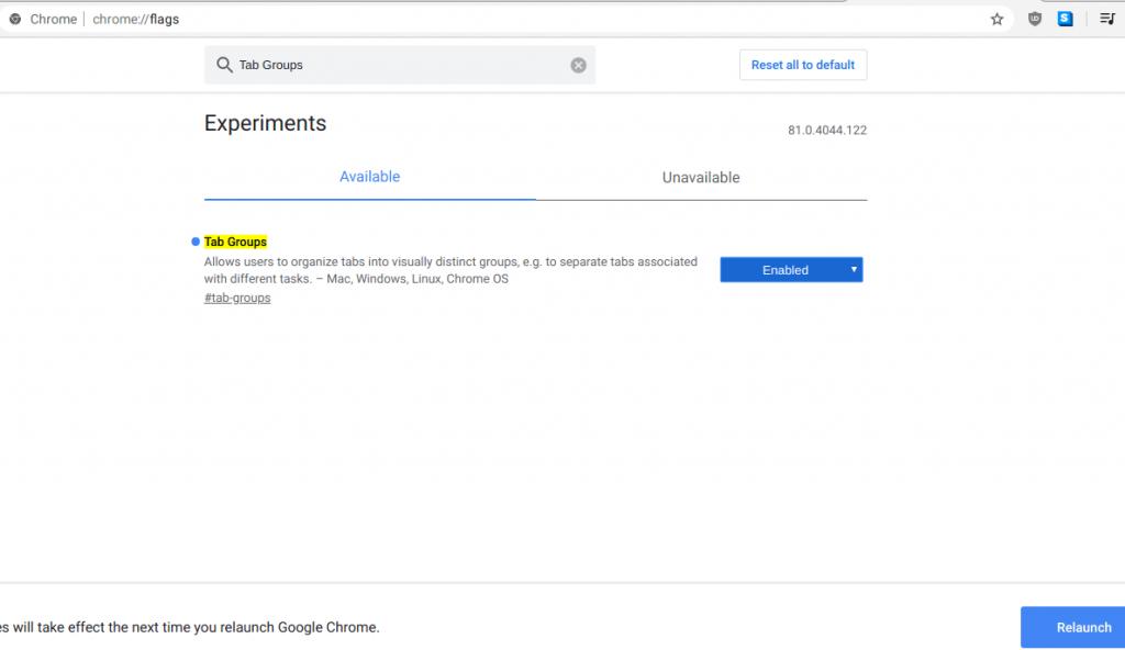 Включаем группы вкладок в Chrome